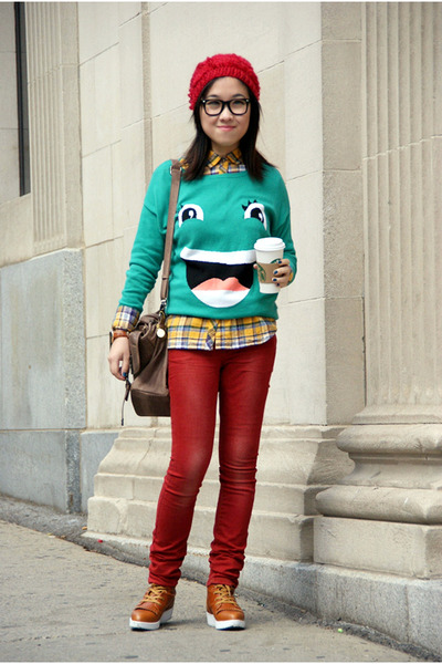 green H&M sweater - brick red Only jeans - ruby red Urban Outfitters hat