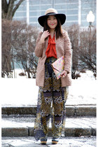 neutral Urban Outfitters coat - carrot orange H&M blouse