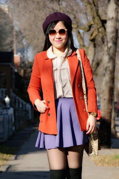 carrot orange H&M blazer - deep purple H&M hat