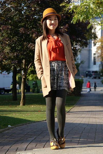 light orange H&M hat - camel H&M jacket