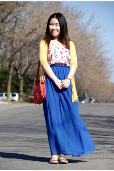 gold Urban Outfitters cardigan - blue Olivia skirt