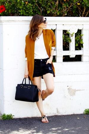 Zara blazer - Michael Kors bag - Mango shorts