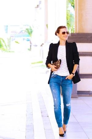 Zara blazer - Diane Von Furstenberg bag - karen millen top
