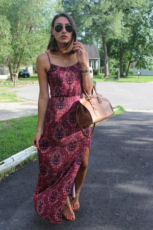 brown leather satchel Ralph Lauren bag - maroon American Eagle dress