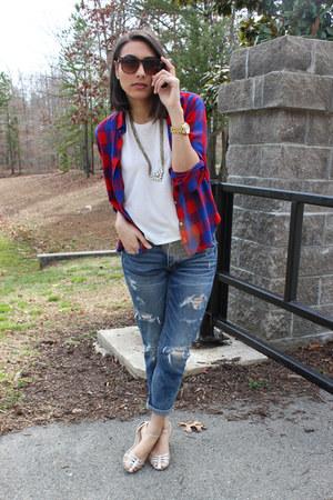 Rocksbox necklace - blue boyfriend jeans American Eagle jeans