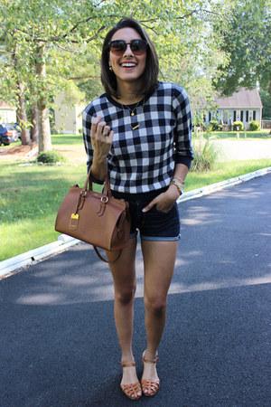 black plaid Forever 21 sweater - brown leather satchel Ralph Lauren bag
