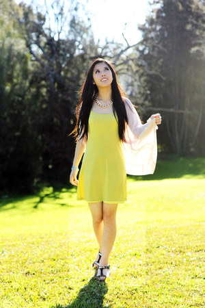 yellow singlet dress Equipment dress - light pink chiffon cape SUPRÉ cape