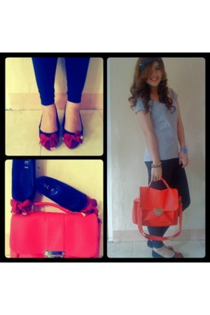 lie flats - Forever21 tights - Parisian bag - cotton tees cotton on blouse