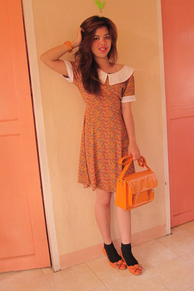 orange MIY flats - orange floral vintage dress dress - satchel Parisian bag