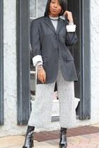 black menswear vintage blazer - black patent leather Zara boots