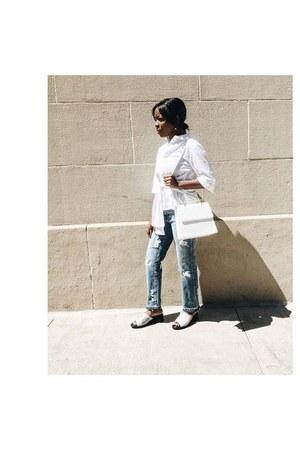 white button down H&M shirt - light blue Zara jeans - white loeil bag