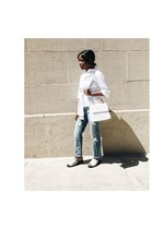 white button down H&M shirt - light blue Zara jeans - white loeil bag