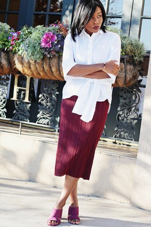 white tie front H&M blouse - maroon pleated Zara skirt - maroon asos sandals