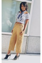 camel suede H&M pants - navy silk Moschino scarf - navy striped Forever 21 top