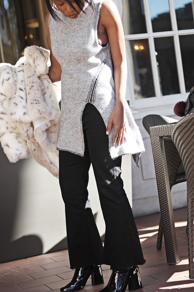 black patent leather Zara boots - ivory faux fur MinkPink coat