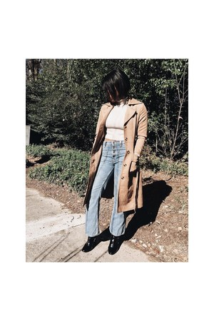 beige H&M coat - black patent leather Zara boots - light blue Zara jeans