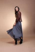 charcoal gray West 36th skirt - burnt orange West 36th top