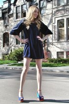 navy Alba wedges - navy vintage dress