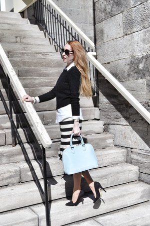 black asos dress - black Express sweater - light blue danier bag