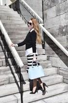 black asos dress - black Express sweater - light blue danier bag