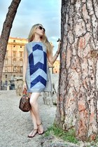 light brown Louis Vuitton bag - blue asos dress - light brown Steve Madden flats