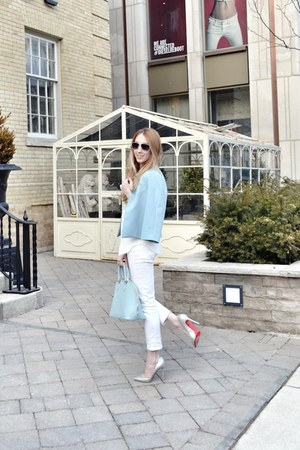 white Joe Fresh jeans - light blue amanda uprichard jacket