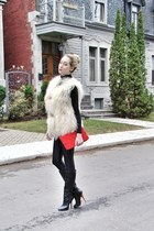 black American Apparel leggings - red H&M bag - ivory milly vest