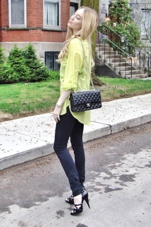 black Genetic Denim jeans - black Chanel bag - chartreuse necessary clothing top