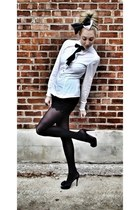 black HUE tights - black MIKKAT MARKET shorts - white H&M blouse