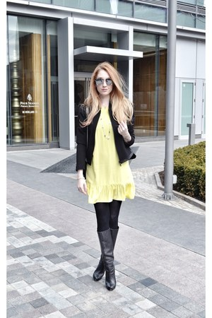 black Bebe boots - light yellow amanda uprichard dress - black danier jacket