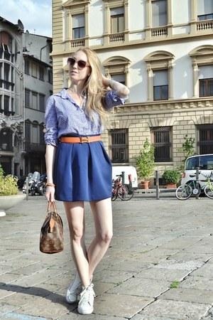 navy JCrew shirt - dark brown Louis Vuitton bag - navy asos skirt