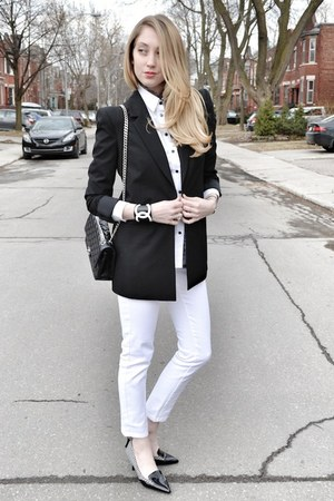 black Victorias Secret blazer - white Joe Fresh jeans - black Chanel bag