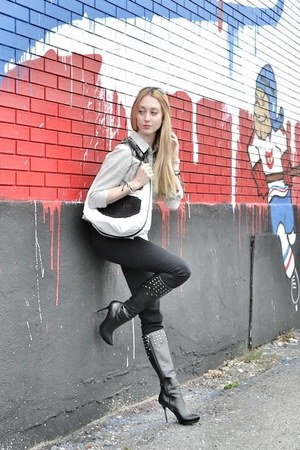 black Rock & Republic boots - black goldsign jeans - heather gray Bershka shirt