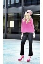 hot pink Hermes scarf - black Moschino pants - hot pink Zara top