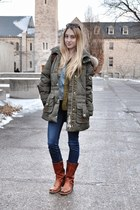 olive green Bogner coat - dark brown Frye boots - navy J Brand jeans