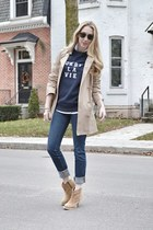 tan Juicy Couture coat - tan asos boots - navy J Brand jeans