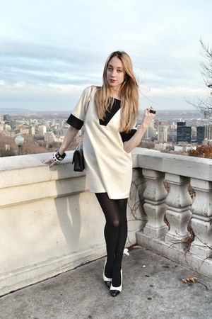white MASABNI dress - black Chanel bag
