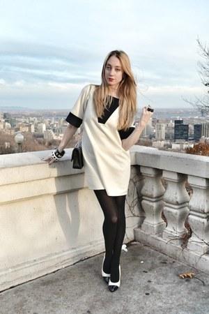white MASABNI dress - black Chanel bag