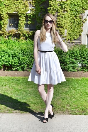white RED valentino dress - black Moschino belt - black Valentino heels
