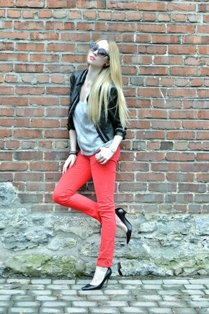 silver TART Collections top - red Ardene jeans - black Forever 21 blazer
