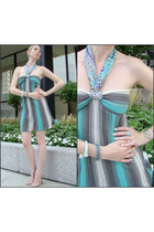 light blue Missoni dress - beige brian atwood heels