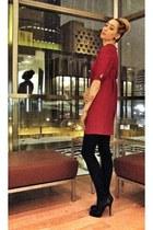 red vintage dress - black Christian Louboutin heels - black HUE stockings