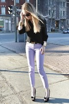 black vintage sweater - light purple Joe Fresh jeans - black Hermes belt