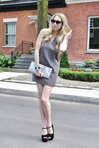 black Chanel bracelet - heather gray vintage dress - silver tano bag