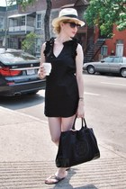 black lamade dress - beige michael starts hat - black tory burch bag