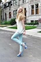 sky blue Ardene jeans - white Forever 21 top - sky blue Miss Me heels