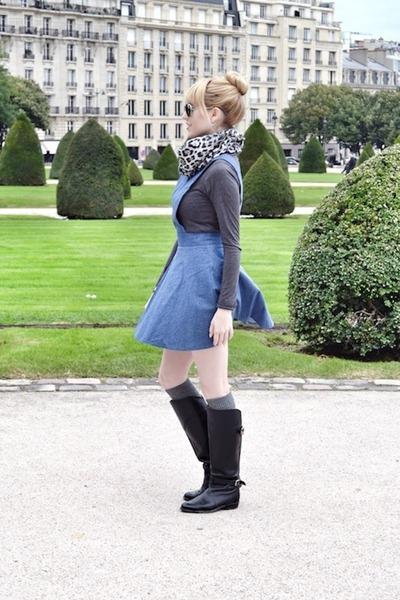 black Frye boots - navy asos dress - heather gray Joe Fresh scarf