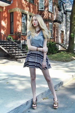 navy H&M skirt - heather gray Target t-shirt - brown Miu Miu heels