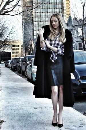 vintage coat - laundry skirt - Manolo Blahnik heels