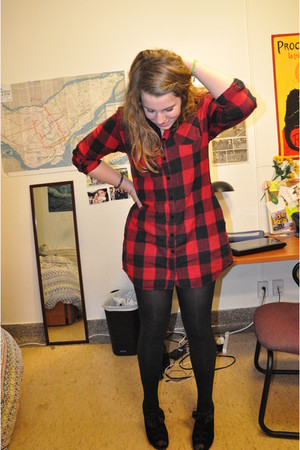 red song dress - black American Apparel tights - black JAldrige by Sea of Shoes